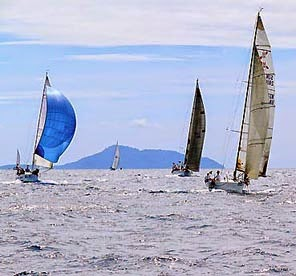 Regatta action with a full blow