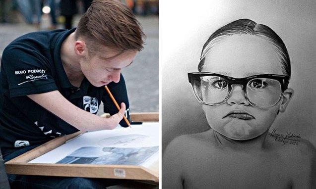 Artista sin brazos Mariusz Kedzierski