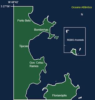 Mapa da Reserva do Arvoredo