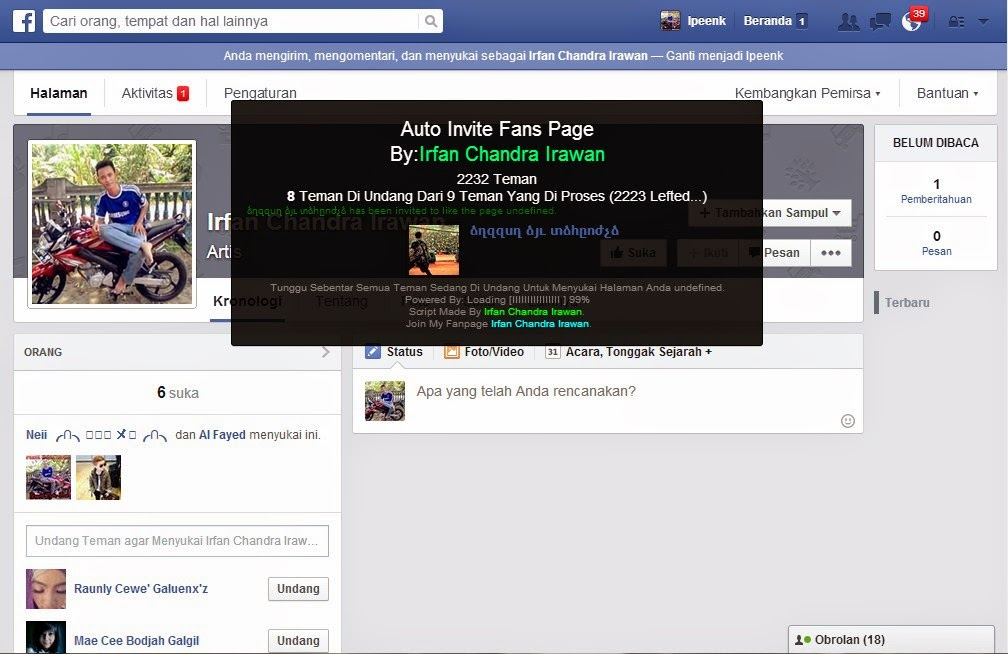 AUTO INVITE FANSPAGE