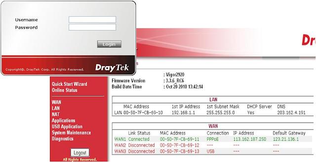 hường dẫn cấu hình draytek, cấu hình 2920FV, cấu hình Vigor 2920FV, draytek vigor 2920fv