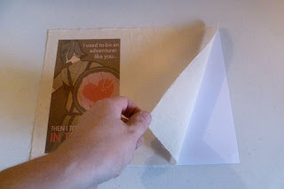 Printing a Valentine on fabric using an ink jet printer, Removing the muslin from the Card stock