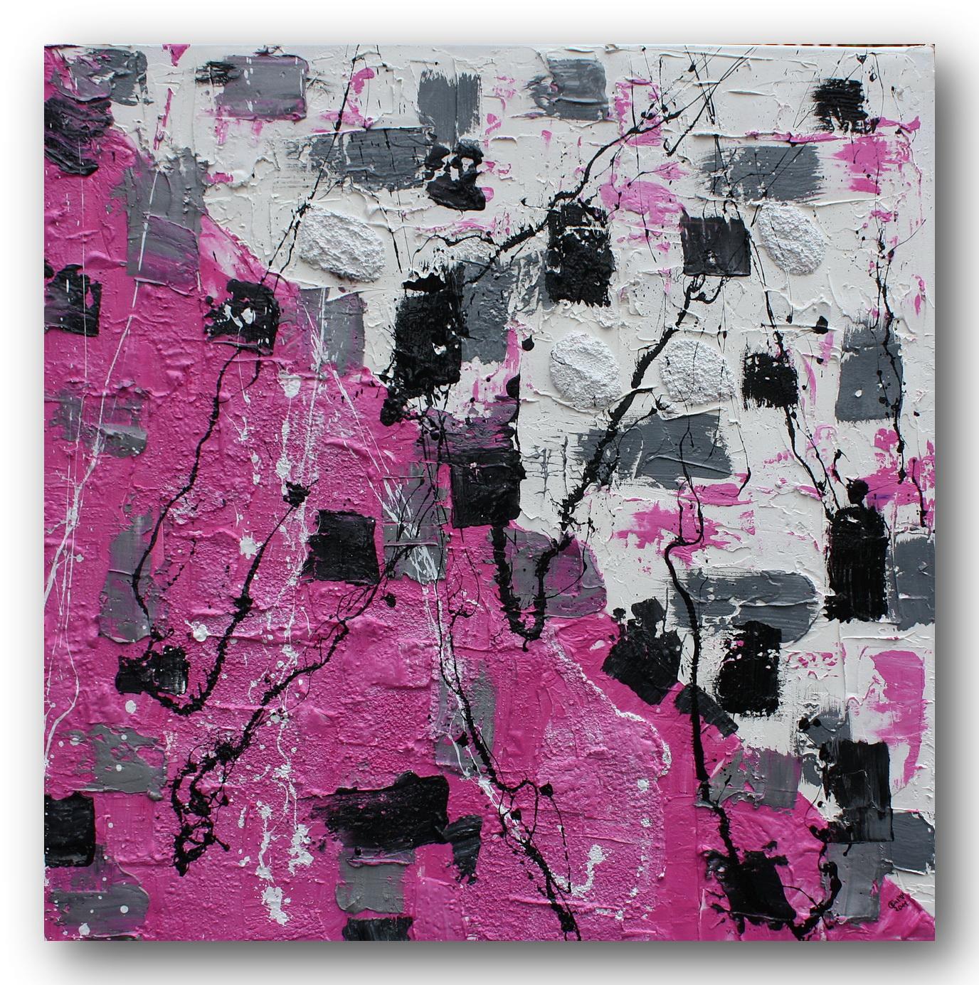 """Malerei von Celine: Abstrakte Acrylmalerei """"pink-weiß-schwarz"""""""