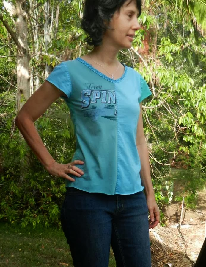 refashioned t-shirt made in 3 blues