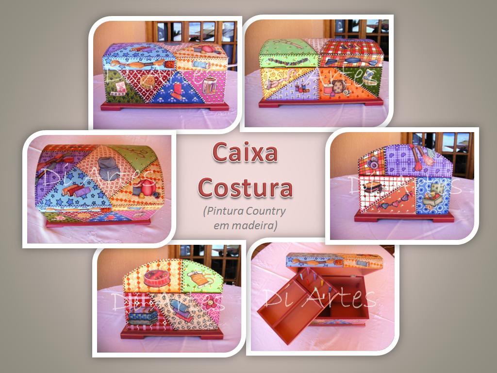 Caixa de costura pintada à mão com aplicação de papéis de costura #A34E28 1024x768