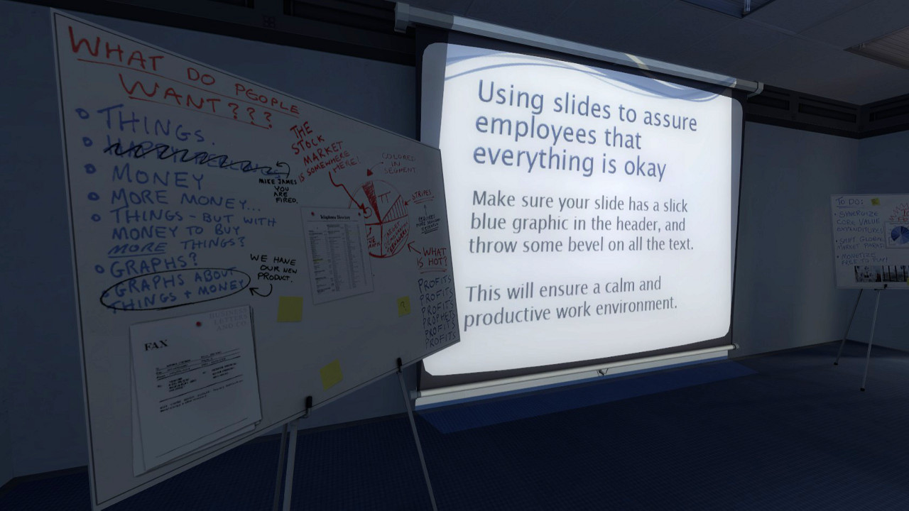 the stanley parable office powerpoint whiteboard
