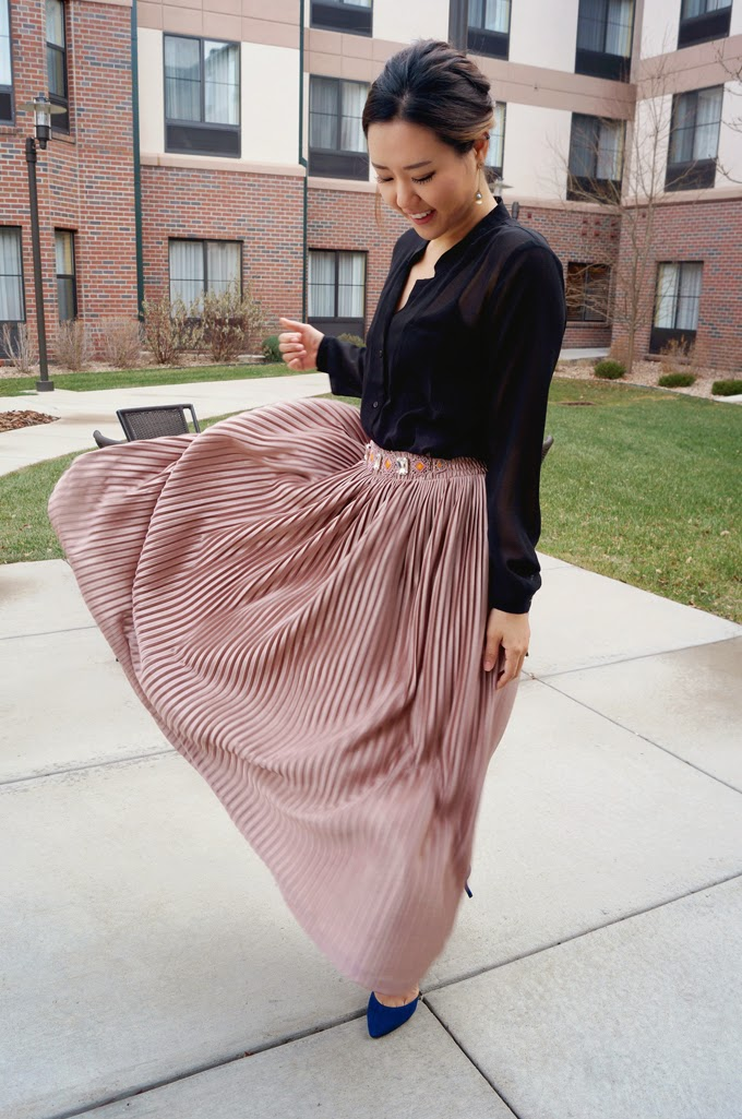 Pleated Skirt Metallic