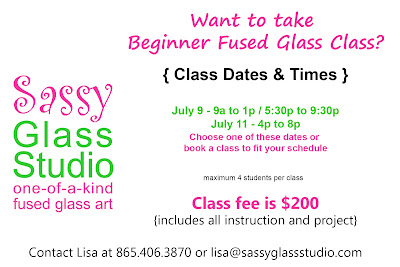 Sassy Glass Studio, fused glass class, Knoxville, TN, July 2015, beginner fused glass class