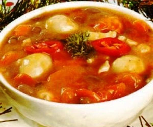 Red bean meatballs. Nusantara Culinary
