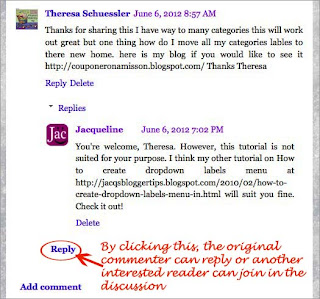 Screenshot to illustrate how to reply to Threaded Comments on Blogger - #3