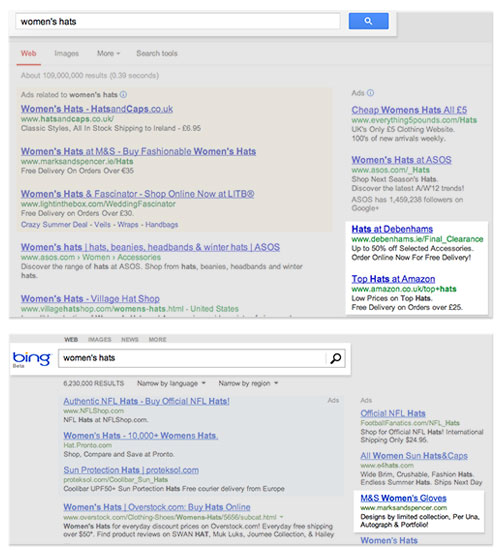 Comparing searches results in Google and Bing.