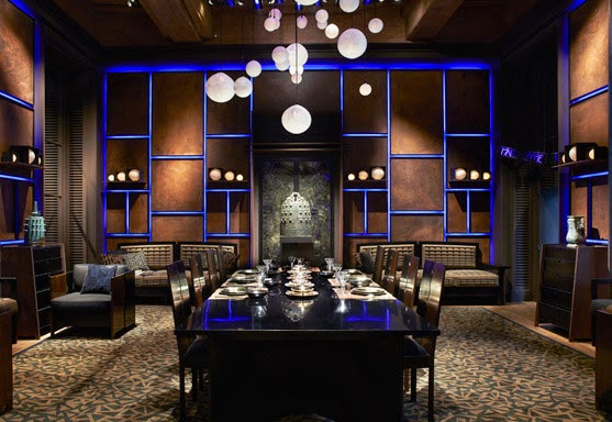 Fresh look at the luxury interior design and decor, luxury dining room with wall panels and led light