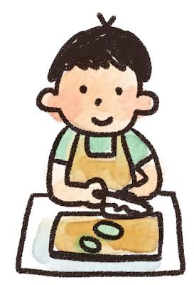 料理のイラスト「料理をしている男の子」