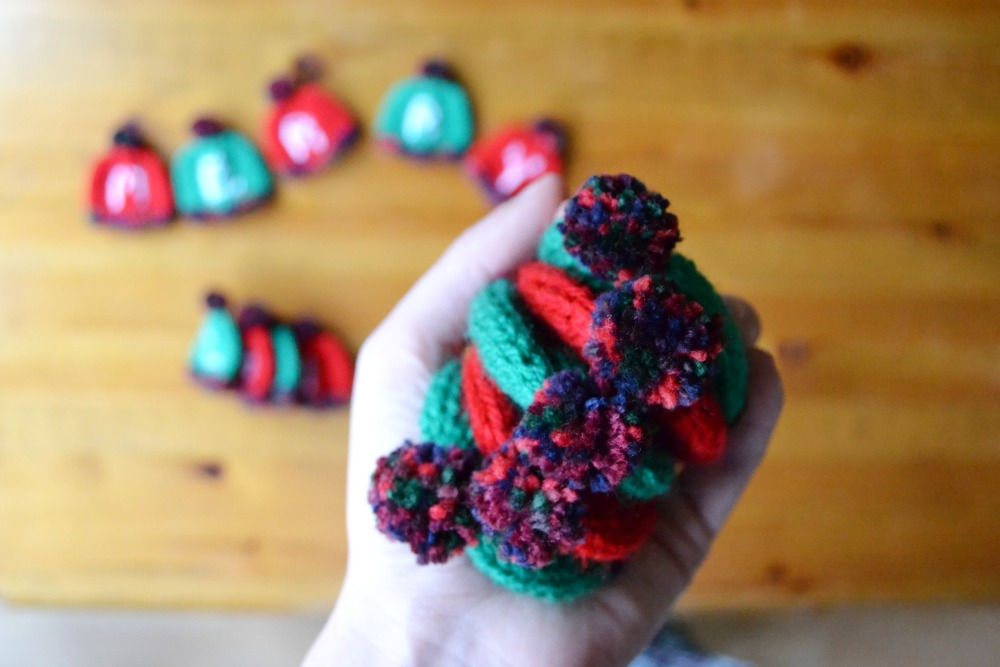 tiny knitted bunting letter hats christmas pompoms