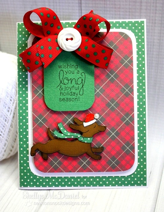 Dachshund dog Christmas Card by Shellye McDaniel for Newton's Nook Designs - Holiday Hounds Dog Stamp set
