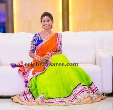 Neon Green Half Saree
