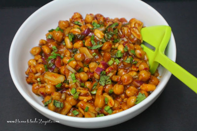 Easy Kung Pao Chickpeas Recipe with peanuts, vegetables, chili paste