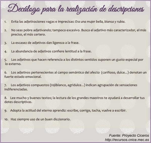Decálogo descripciones