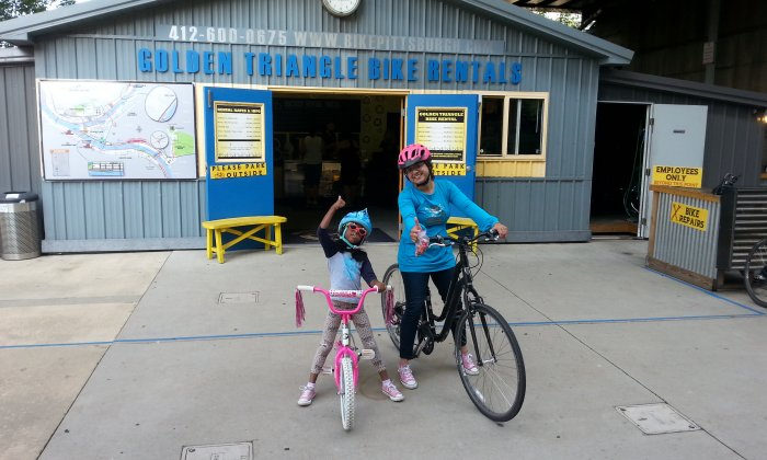 Pittsburgh bike rental, Mom and Daughter