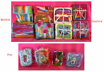 One-of-a-kind Wool Felted Wallets $15.00, Coasters $12.00 & Pins $8.00