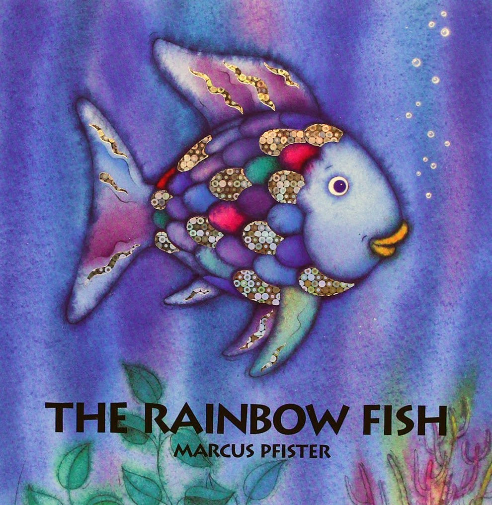 Craft an entire school of rainbow fish from paper plates for Rainbow fish pictures