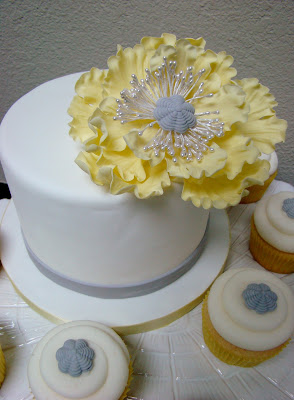 yellow ruffle sugar flower