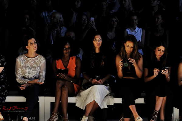 Front row at a fashion show MBFWA. Photography by Kent Johnson.