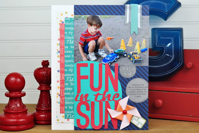 """Fun in the Sun"" layout designed by Jen Gallacher for SCT Magazine. Includes video. More info here:  http://jengallacher.blogspot.com/2015/09/3-scrapbooking-kit-videos-crop-create.html"