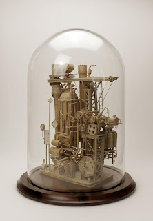steampunk sculptures, cardboard steampunk sculptures, paper artists,