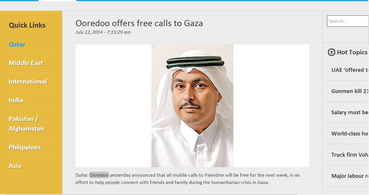 Make free mobile calls from Qatar to Gaza (Palestine): Ooredoo