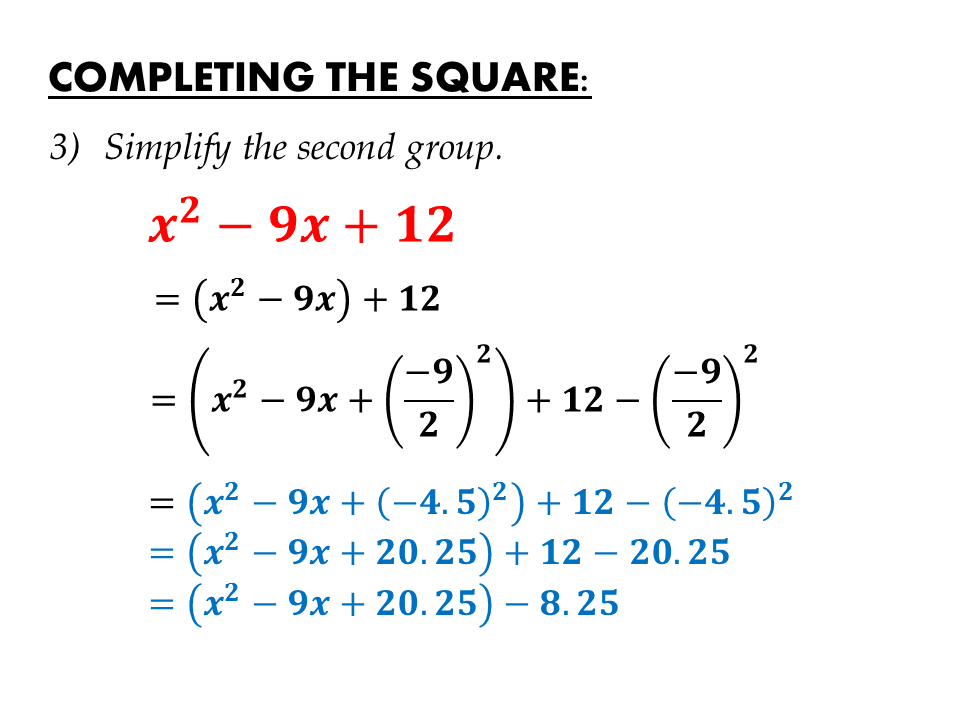 completing the square Solving quadratic equations by completing the  the following algorithm summarizes our work in this section with solving quadratic equations by completing the square.