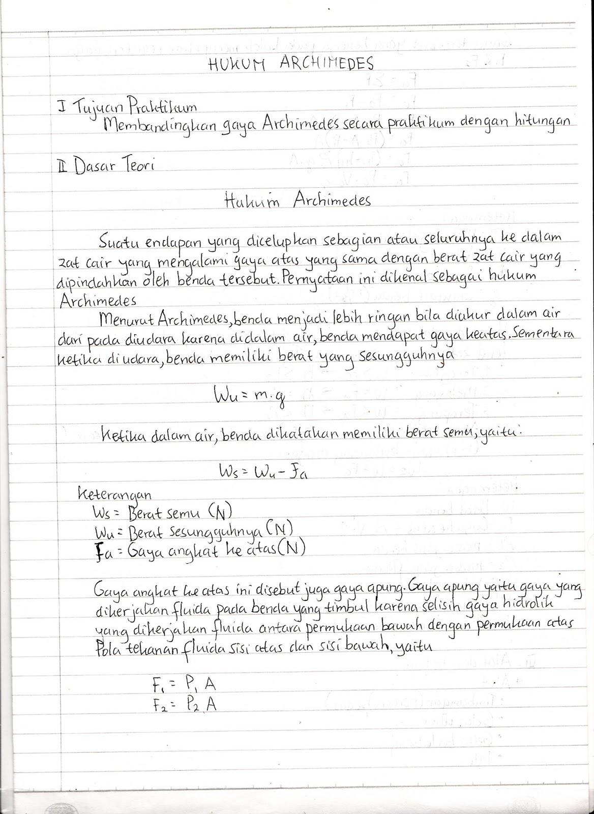 Iseng Iseng Laporan Praktikum Fisika Hukum Archimedes