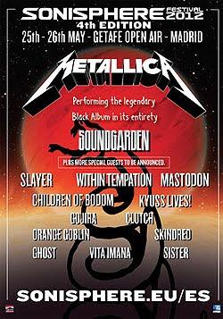 Metallica y Soundgarden al Sonisphere de Getafe 25 y 26 de mayo