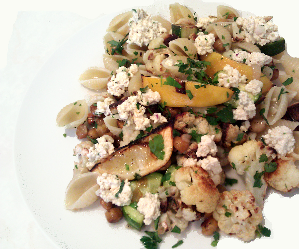Cauliflower & Roasted Chickpeas with Conchiglie and Ricotta
