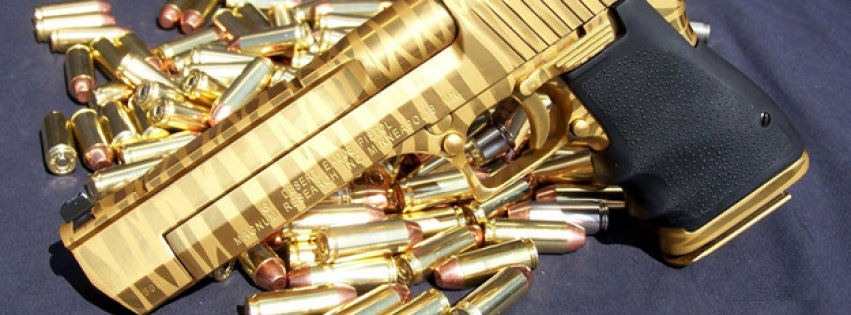 Gold desert eagle facebook cover