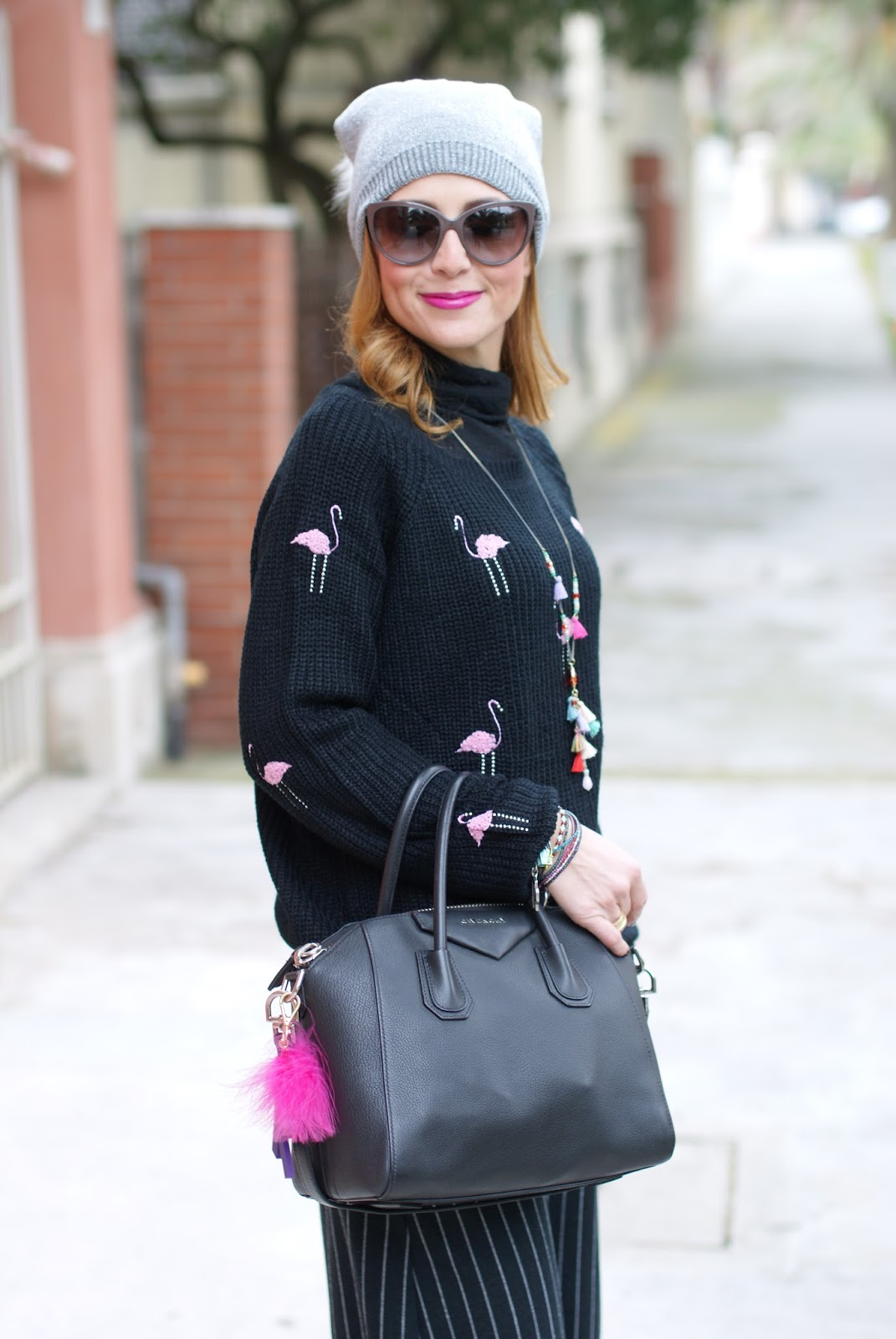 Flamingo sweater, Givenchy bag and slip on sequin sneakers, casual feminine outfit on Fashion and Cookies fashion blog, fashion blogger style
