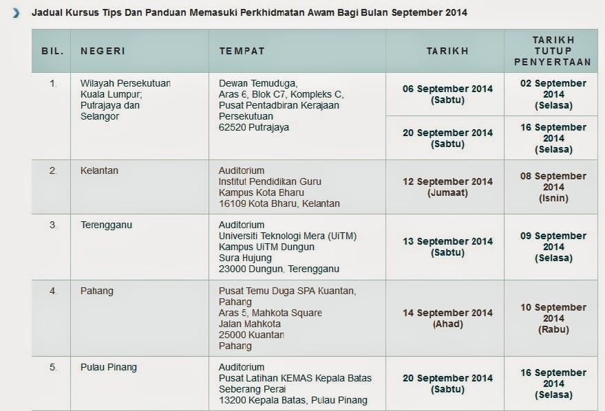 KURSUS PANDUAN MEMASUKI PERKHIDMATAN AWAM SEPTEMBER 2014