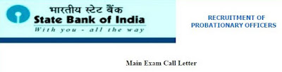 SBI PO (Main Exam) Admit Card 2015