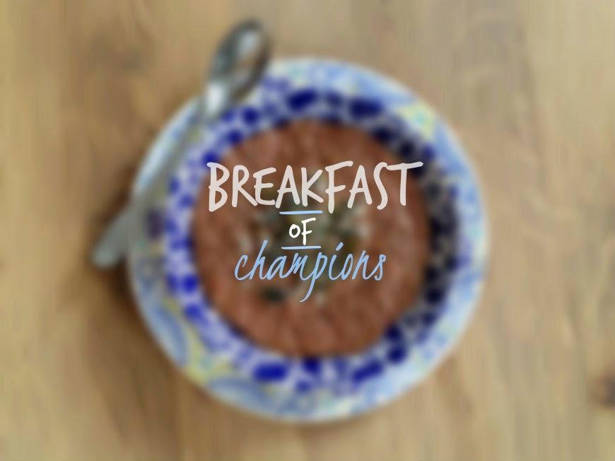 Breakfast of Champions:  Chocolate & Banana Super Hero Porridge.