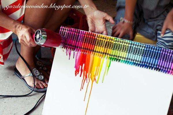 Pastel Boyalardan Kolay Tablo Yapımı