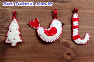Bengala natalina de feltro para decorar árvore de Natal – Passo a Passo