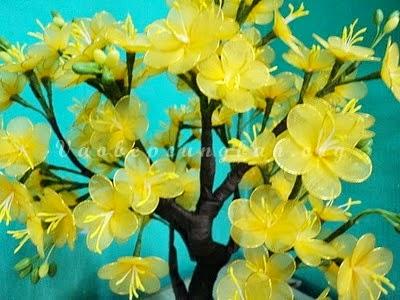 Cách làm cây hoa Mai bằng vải voan  1