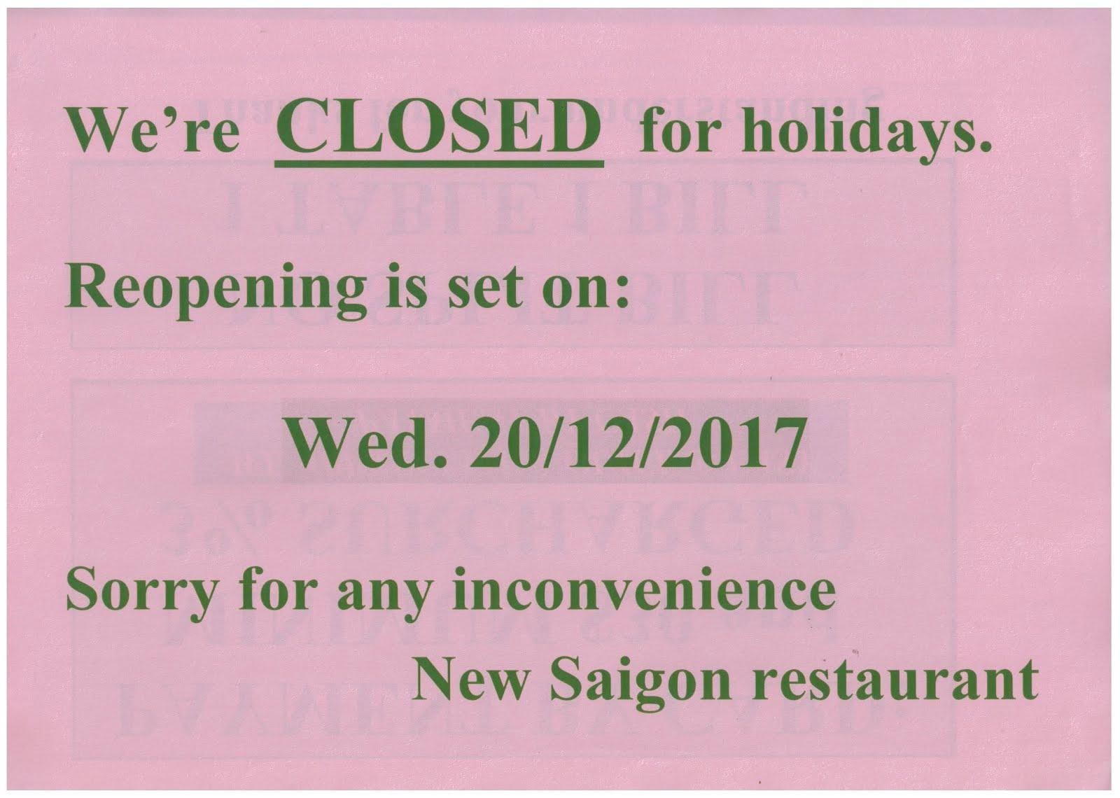 Holidays Notice