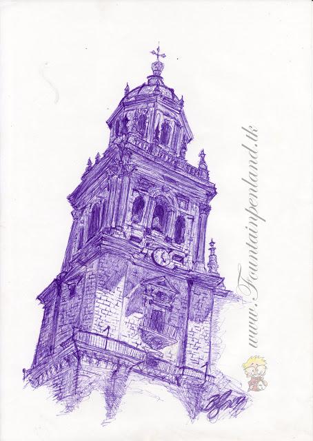 Torre de la catedral de Jaen, dibujo, pinuta