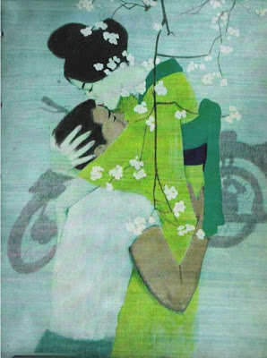 "Drawing of a Japanese woman in green kimono holds a man safe in her arms. She kisses his forehead. Art by American artist Coby Whitmore, 1961, ""The Eternal Blossom"""