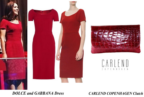 Crown Princess Mary's DOLCE and GABBANA Dress and CARLEND COPENHAGEN Clutch