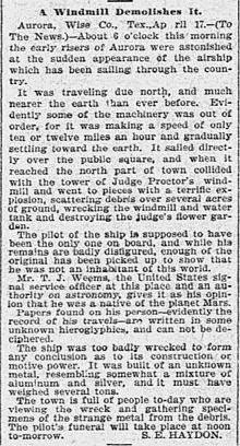 Artículo Haydon, incidente OVNI 1897 en Aurora, Texas