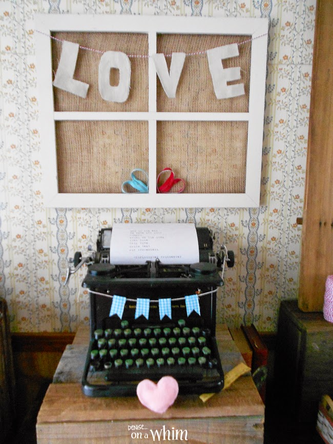 Valentine Vignette with a Vintage Typewriter from Denise on a Whim