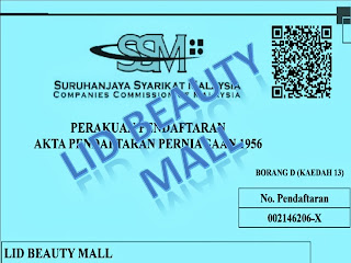 NO PENDAFTARAN SSM LID BEAUTY MALL