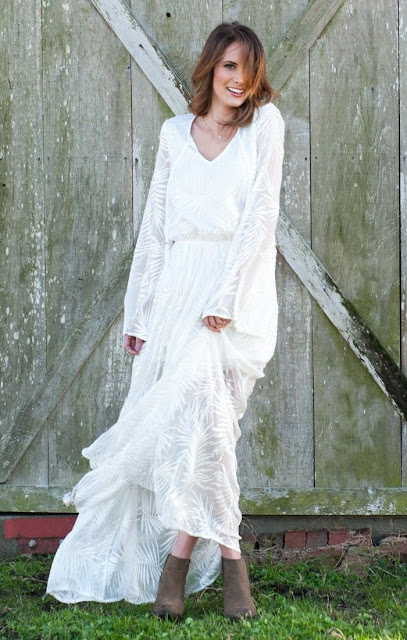Juliet maxi dress in luxe leafy white by Show Me Your Mumu